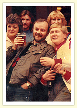 Radio 1's John Peel and Mike Smith outside The Nutshell in 1984